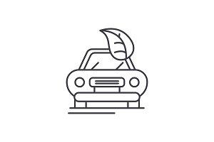 Retro car line icon concept. Retro