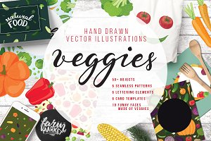 Hand drawn vector elements Veggies