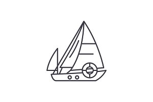 Sailboat line icon concept. Sailboat