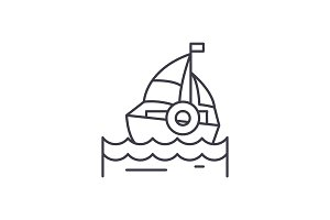 Sailing line icon concept. Sailing
