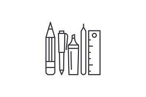 School tools line icon concept