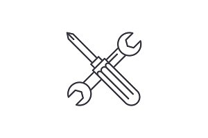 Screwdriver and wrench line icon