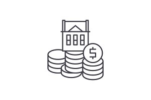 Selling a house line icon concept