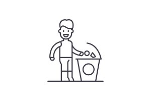 Separate trash line icon concept