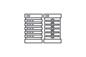 Servers line icon concept. Servers