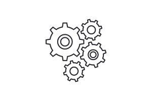 Gear wheel line icon concept. Gear
