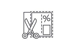 Shopping coupon line icon concept