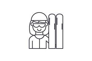 Skier line icon concept. Skier