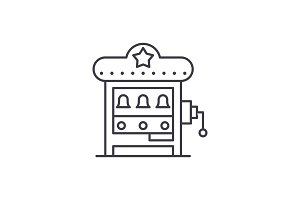 Slot machine line icon concept. Slot