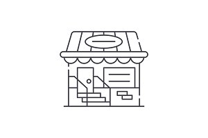 Small shop line icon concept. Small