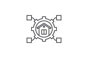 Smart house line icon concept. Smart