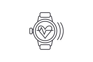 Smart watch with pulse line icon