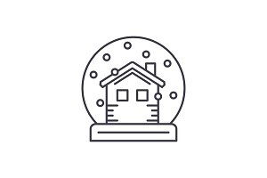 Snow globe with house line icon