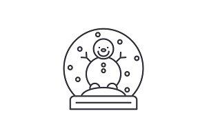 Snow globe with snowman line icon