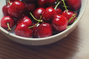 Radiant red summer cherries