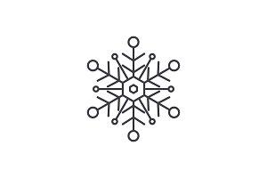 Snowflake line icon concept