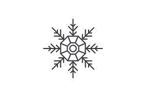 Snowflake decoration line icon