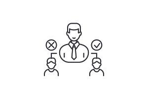 Social hierarchy line icon concept