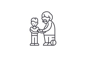 Son and father line icon concept