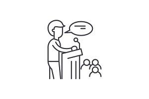Speaker line icon concept. Speaker