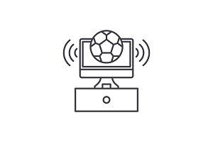 Sports broadcast line icon concept
