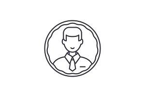 Staff profile line icon concept
