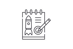 Startup project line icon concept