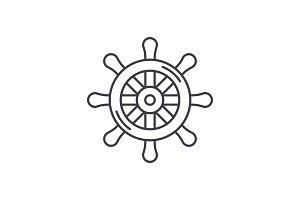 Steering wheel line icon concept