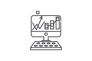 Stock analysis line icon concept