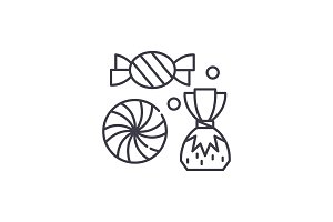 Sweet shop line icon concept. Sweet