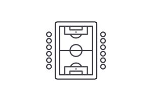 Table soccer play line icon concept