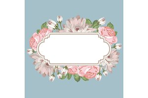 Floral card template with empty