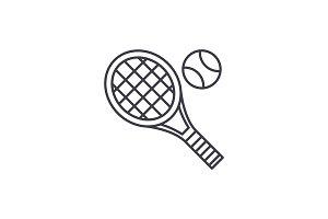 Tennis racket line icon concept