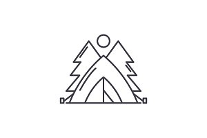 Tent in the forest line icon concept