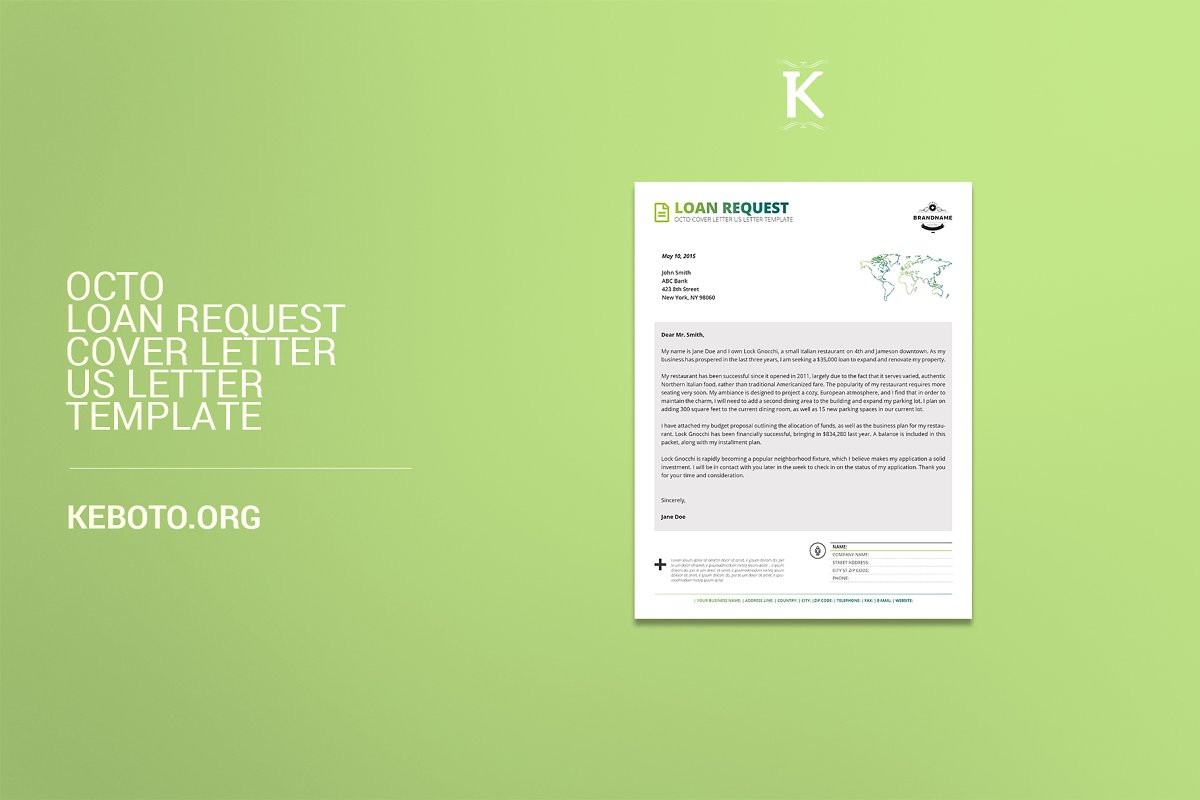 Octo Loan Request Cover Letter USL Templates Creative Market