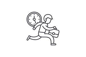 Time management line icon concept