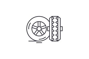 Tires line icon concept. Tires