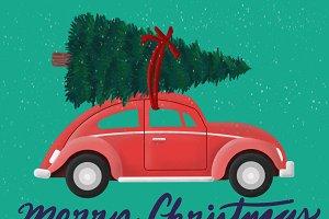 Vintage Car & Christmas Tree