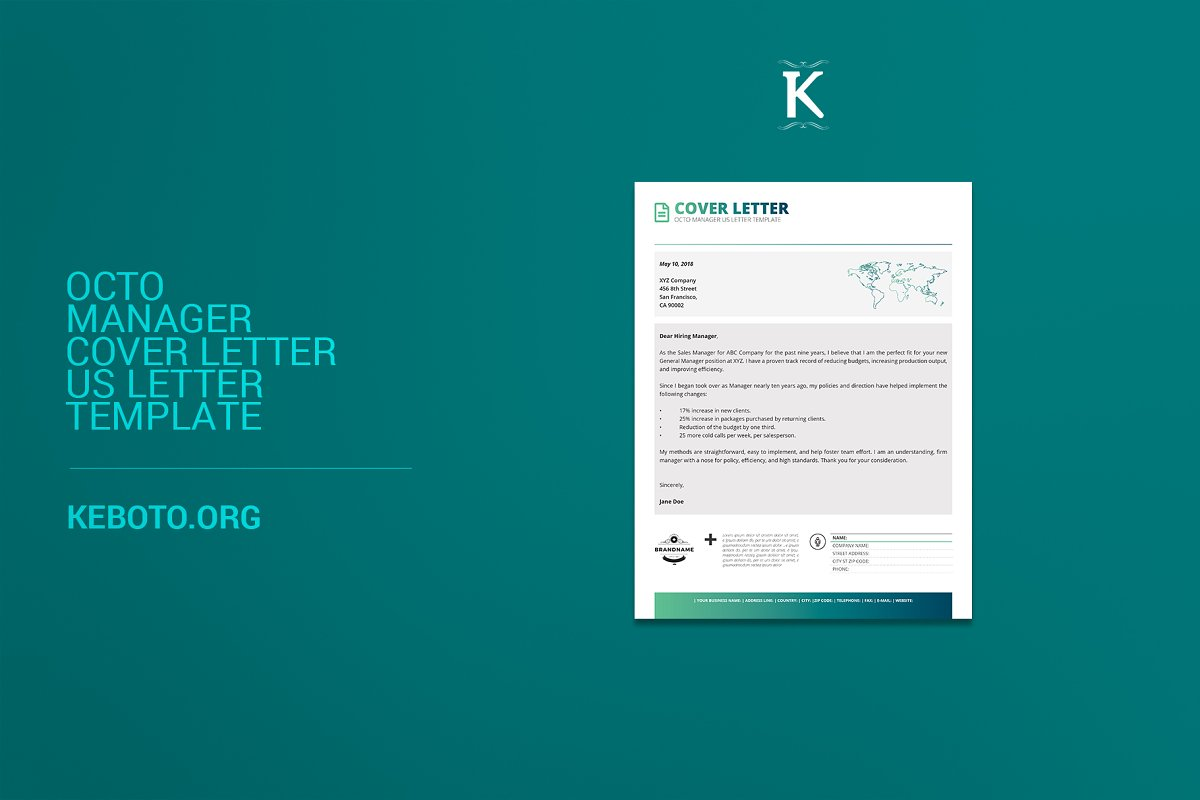 Octo Manager Cover Letter US Letter Templates Creative Market