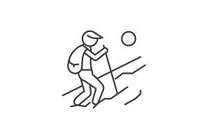 Tourist walk line icon concept