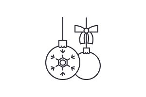 Toys balls line icon concept. Toys