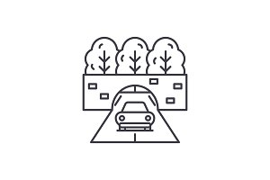 Travelling by car line icon concept