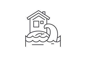 Tsunami line icon concept. Tsunami
