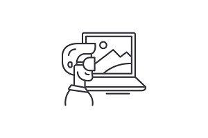 Virtual reality line icon concept