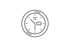 Wall clock line icon concept. Wall