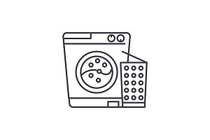 Washer line icon concept. Washer