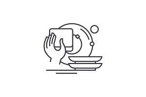 Washing dishes line icon concept