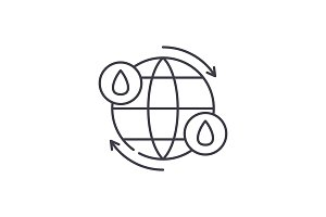 Water cycle line icon concept. Water
