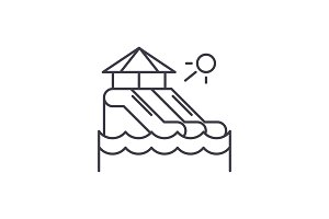 Waterslides line icon concept