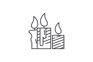 Wax light candles line icon concept